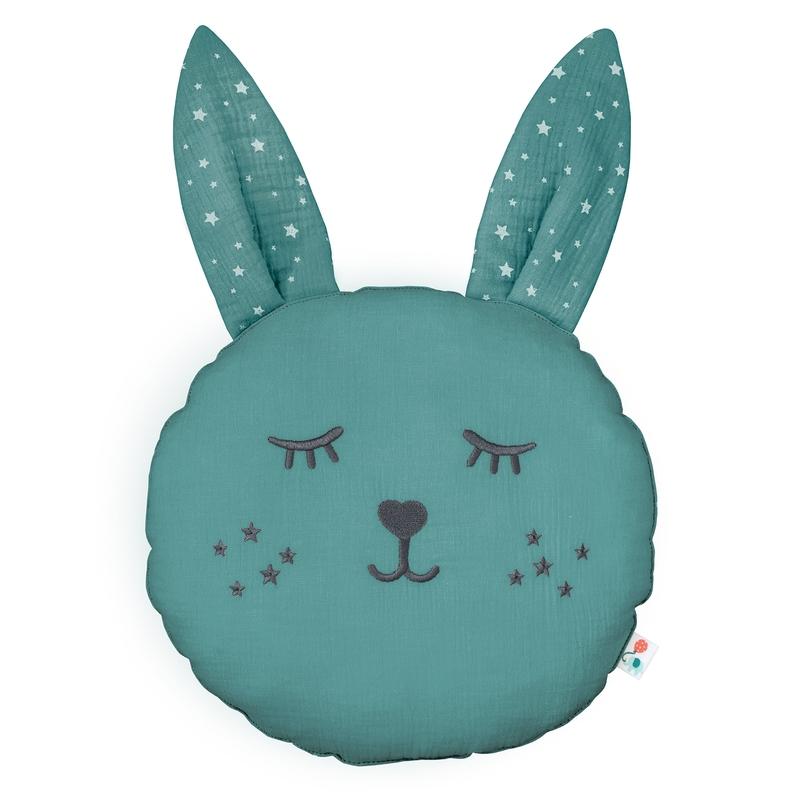 Cushion 'Rabbit' Muslin Embroidered Jade 30cm