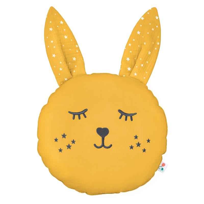 Cushion 'Rabbit' Muslin Embroidered Mustard 30cm