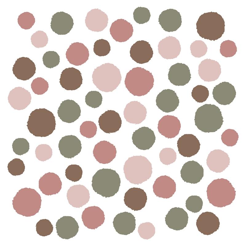 Wall Stickers 'Dots' Dusty Rose/Khaki 62 pcs.