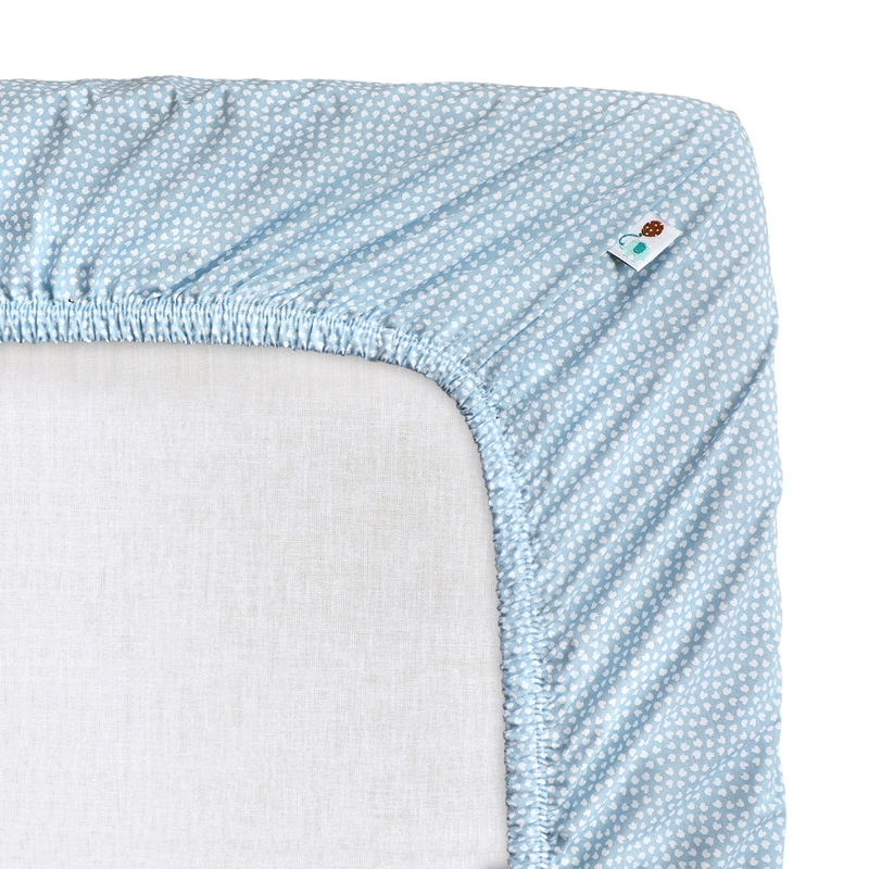 Fitted Sheet 'Hearts' Blue 70x140cm