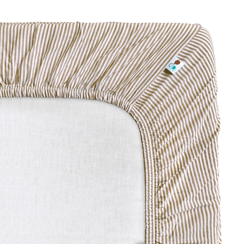 Spannbettlaken 'Streifen' beige 70x140cm
