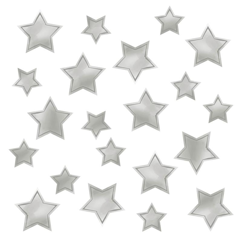 Wandsticker 'Sterne' Aquarell hellgrau 21-tlg.