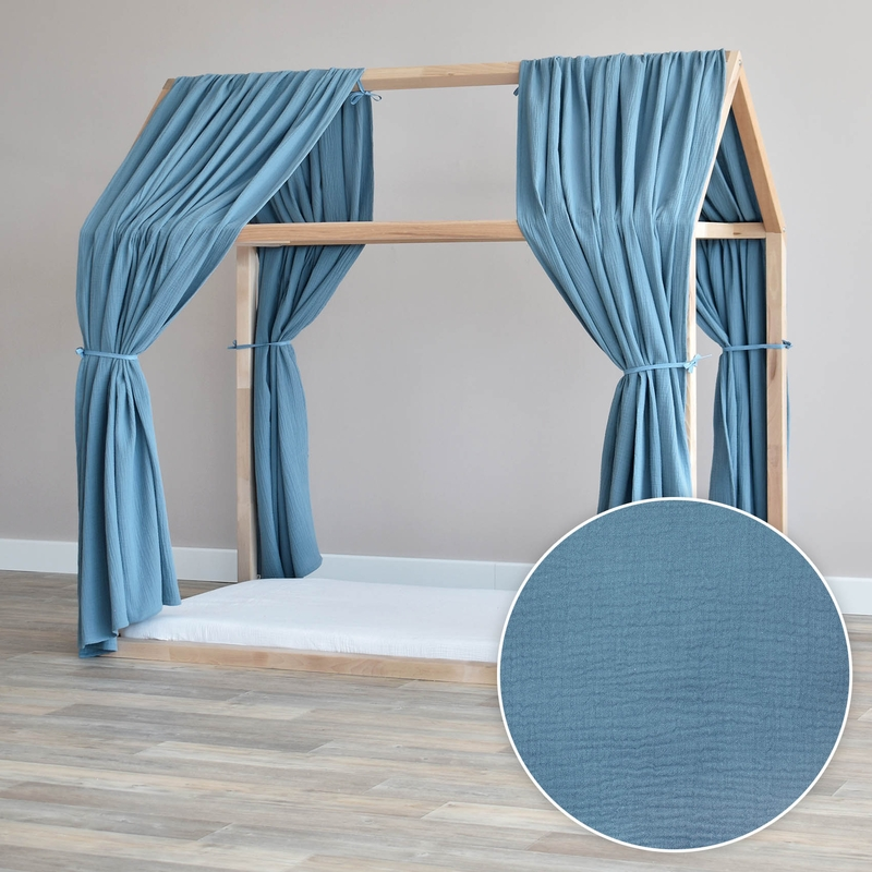 House Bed Canopy Set Of 2 Smokey Blue 315cm