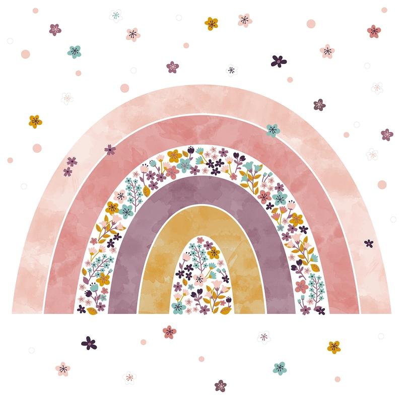 XL Fabric Wall Stickers 'Rainbow' Pink