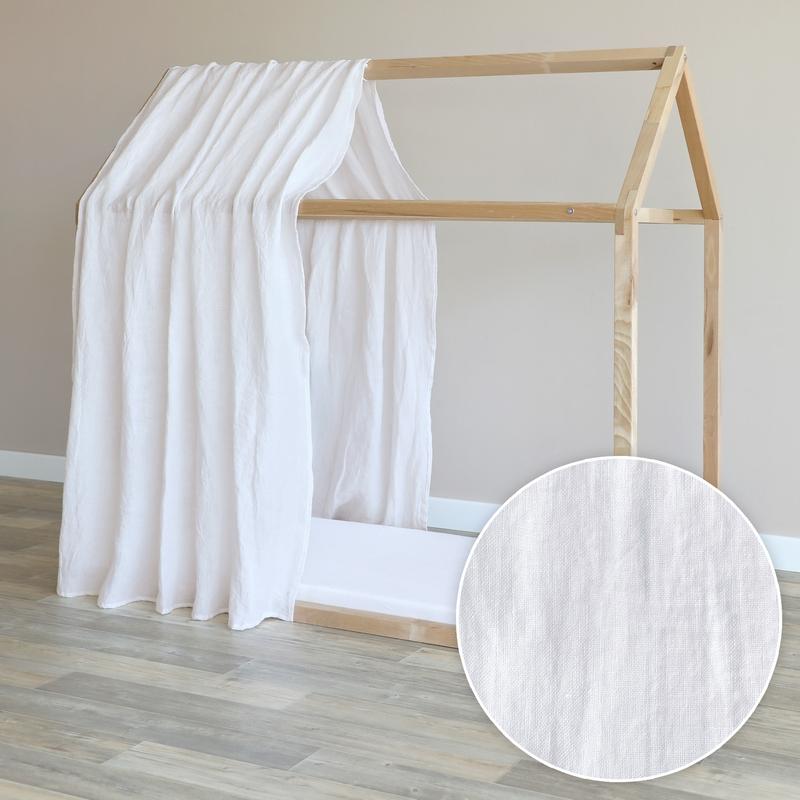 Hausbett-Himmel Leinen weiß 315cm 1 Stück