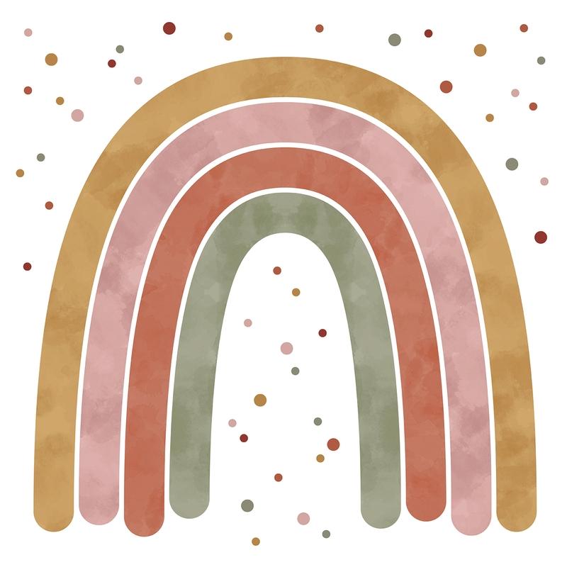 XXL Fabric Wall Sticker 'Rainbow' Rust