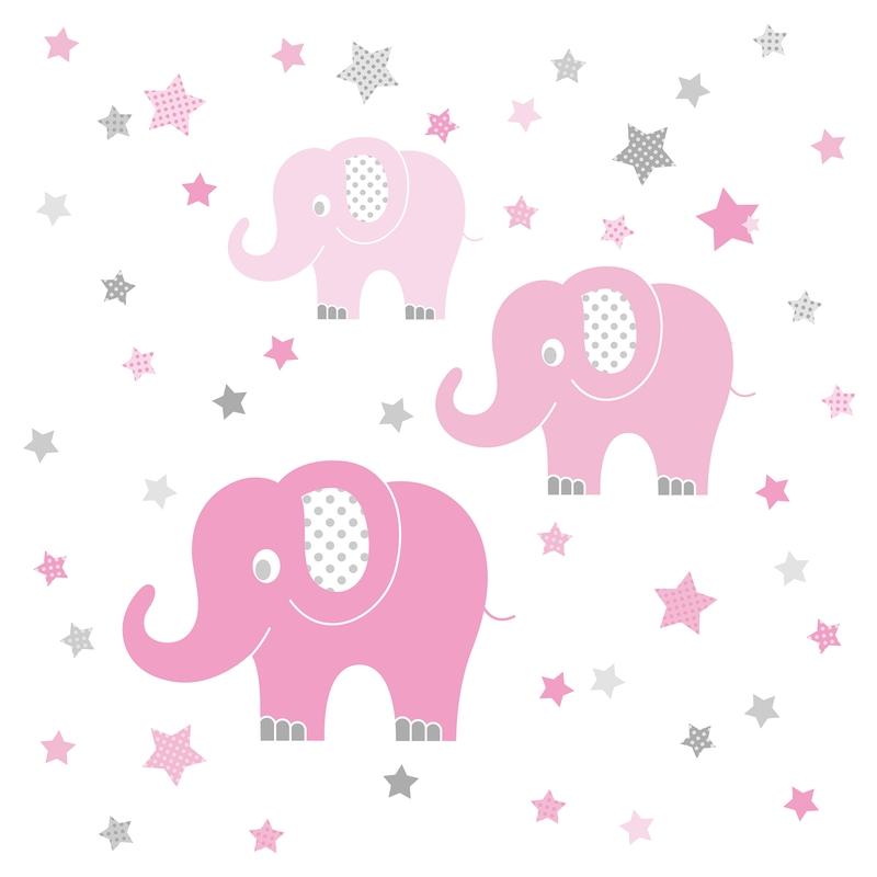 Wall Stickers 'Elephants' Pink/Grey