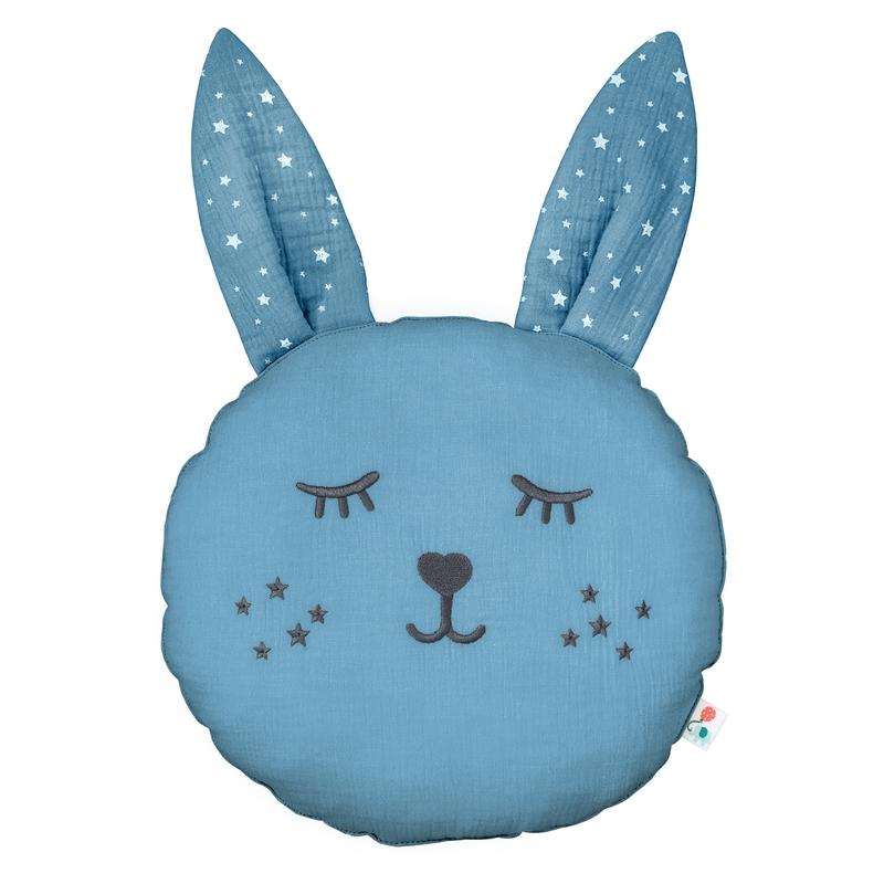 Cushion 'Rabbit' Muslin Embroidered Smokey Blue 30cm