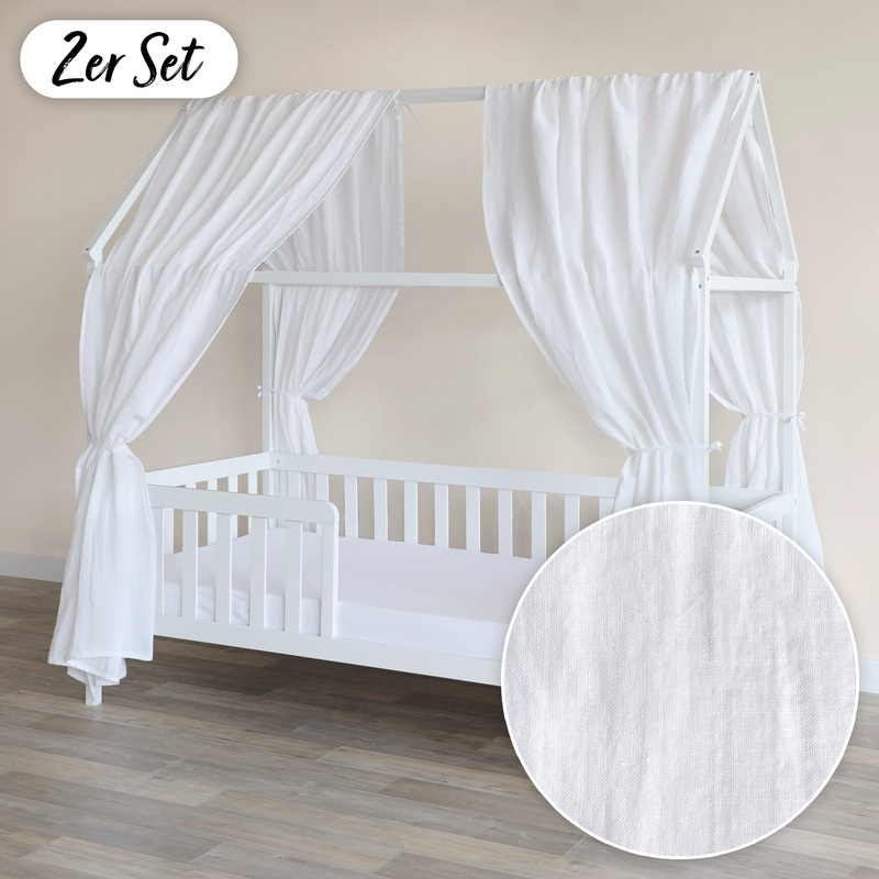 House Bed Canopy Set Of 2 Linen White 350cm