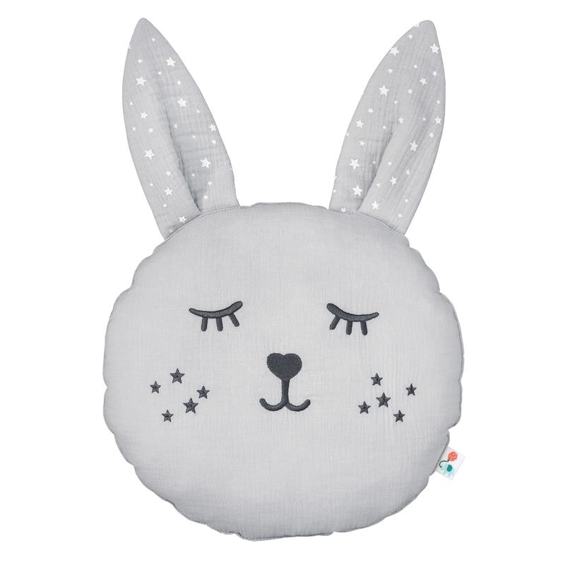 Cushion 'Rabbit' Muslin Embroidered Light Grey 30cm