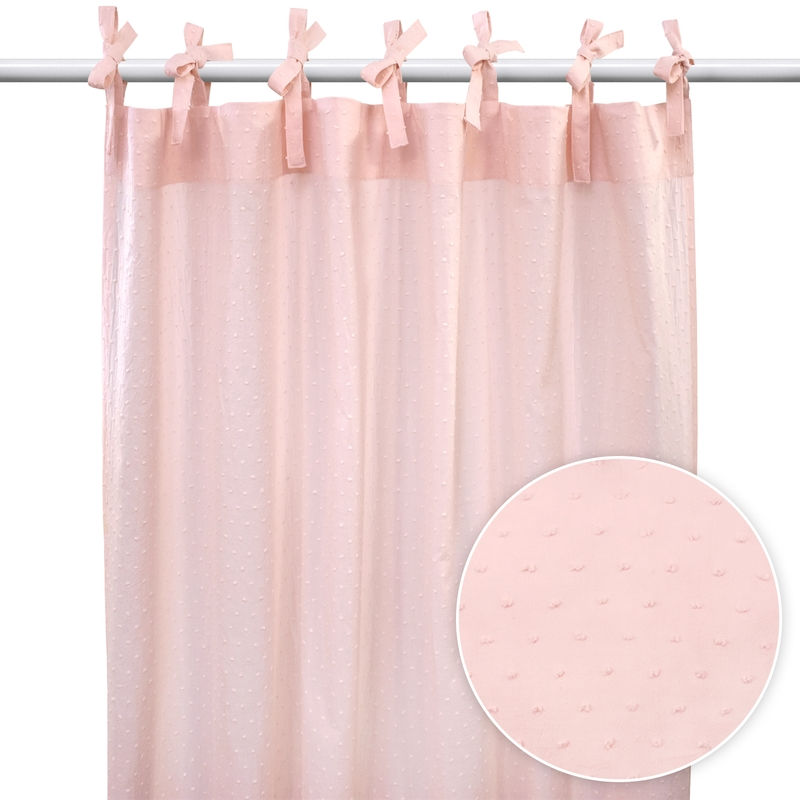 Curtain With 3D Dots Light Pink H 240cm