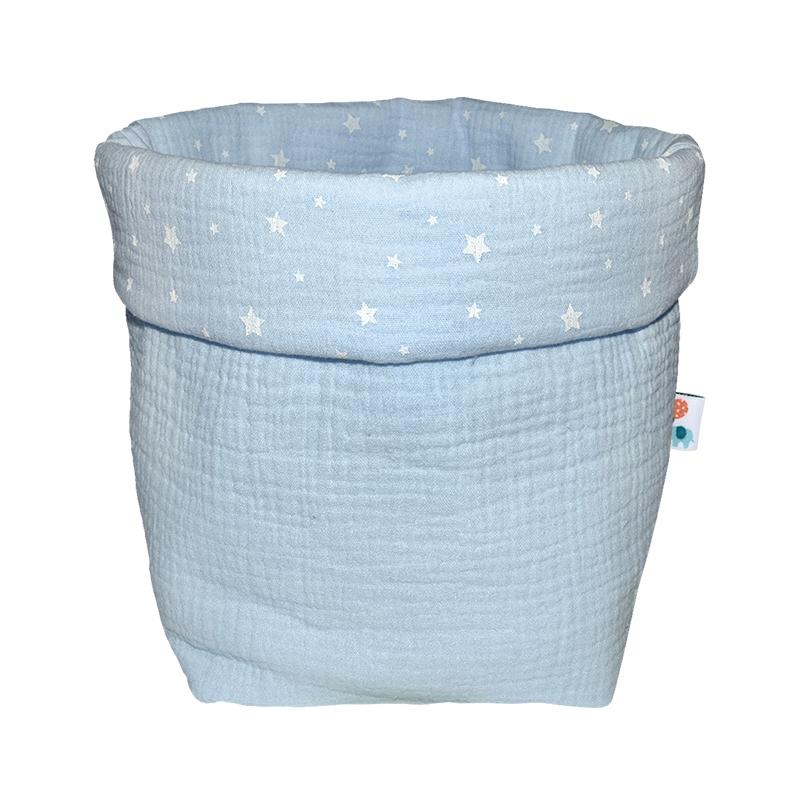 Storage Basket Muslin Pastel Blue 19cm