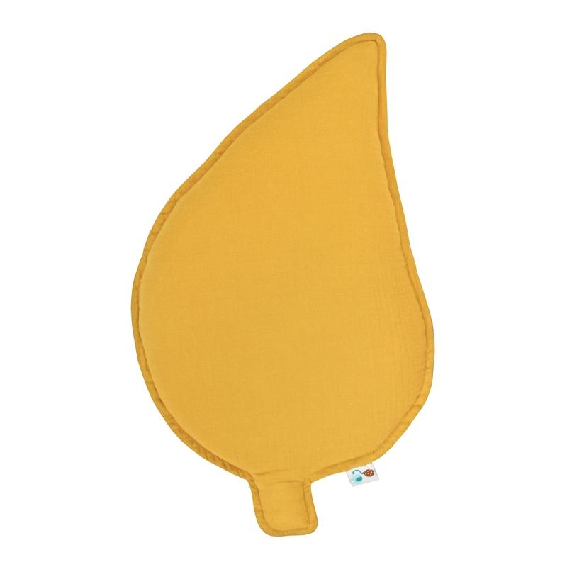 Cushion 'Leaf' Muslin Mustard 47cm Handmade