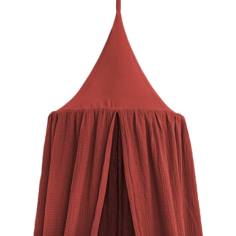 Bed Canopy Muslin Rusty Red 250cm Handmade
