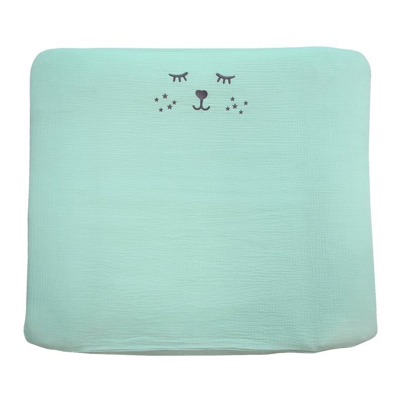 Changing Pad Cover Muslin Embroidered Mint