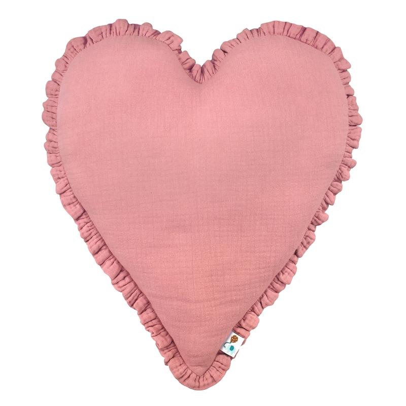 Cushion 'Heart' With Ruffles Dusty Rose 40cm