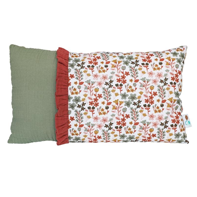 Mini Pillow 'Flowers' Khaki/Rusty Red 20x35cm