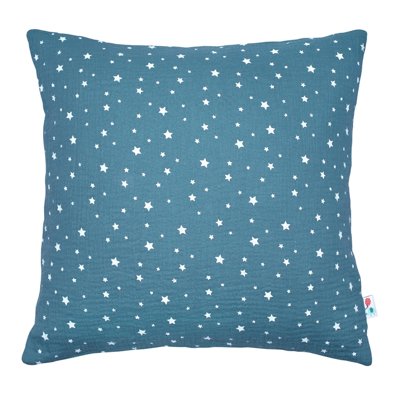 Pillowcase 'Stars' Muslin Smokey Blue