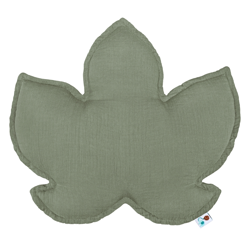 Kissen 'Blatt' Musselin khaki 41cm handmade