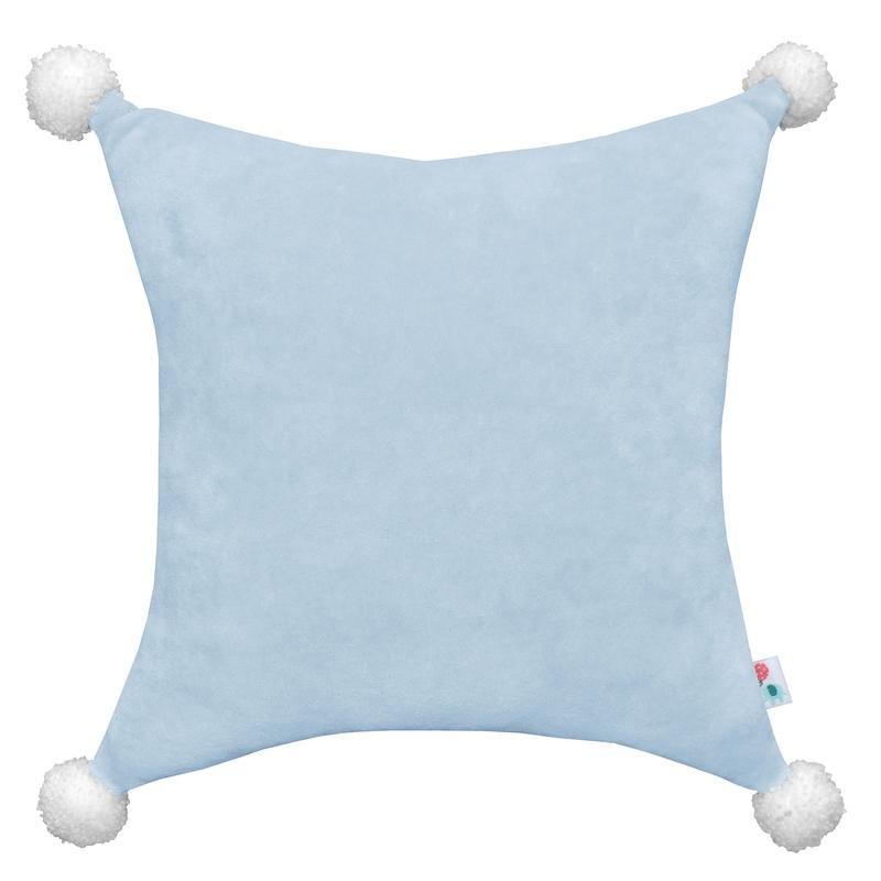 Velvet Cushion With Pompons Light Blue 35cm