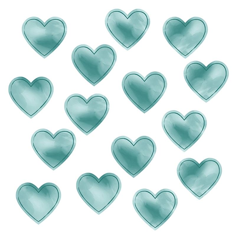 Wall Stickers 'Hearts' Watercolour Jade