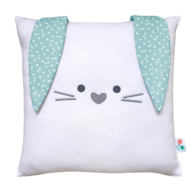 Cushion 'Rabbit' Embroidered White/Mint 30cm