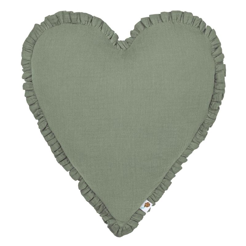 Cushion 'Heart' With Ruffles Khaki 40cm