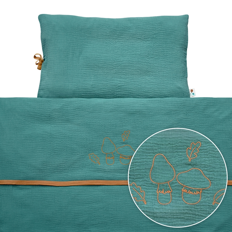 Bedding 'Forest' Muslin Embroidered Jade 100x135cm
