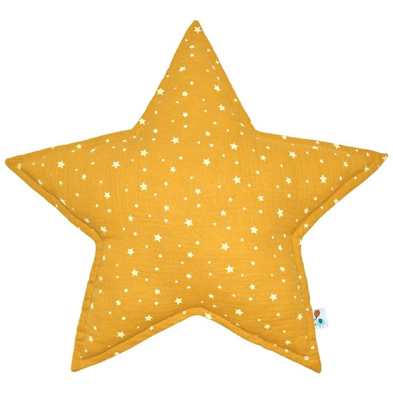 Cushion 'Star' Muslin Mustard 50cm