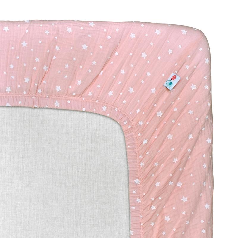 Fitted Sheet 'Stars' Muslin Light Pink 70x140cm