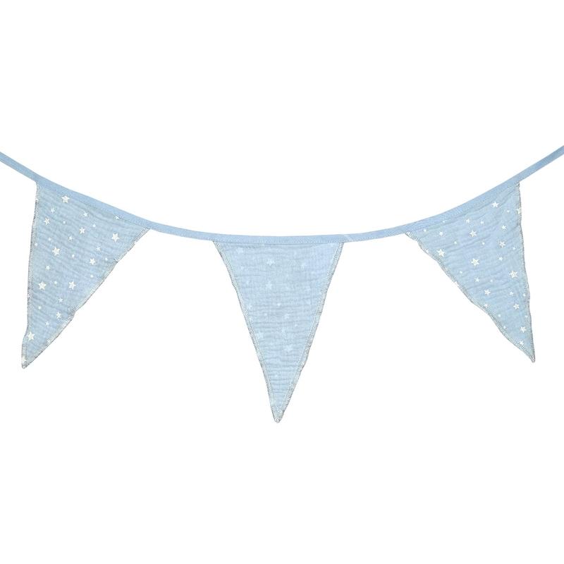 Garland 'Stars' Muslin Pastel Blue 300cm