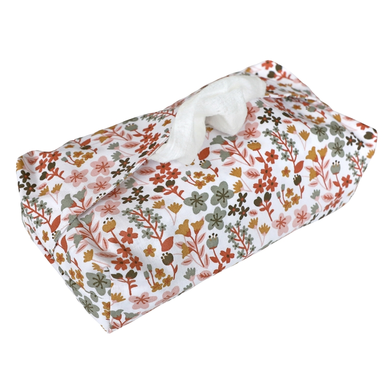 Wet Wipe Cover 'Flowers' Rusty Red/Pink