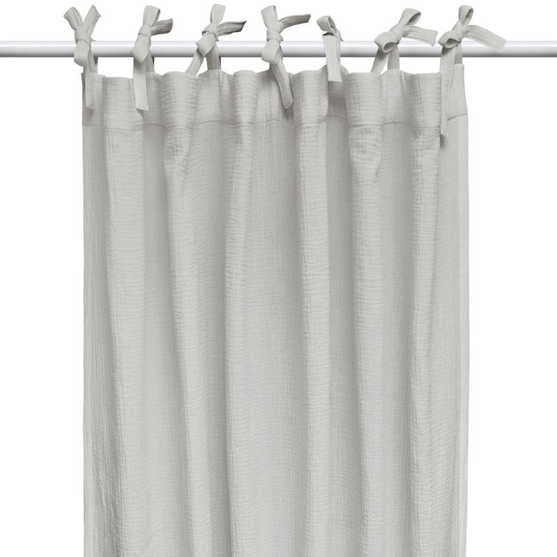 Curtain Muslin Light Grey H 240cm Handmade