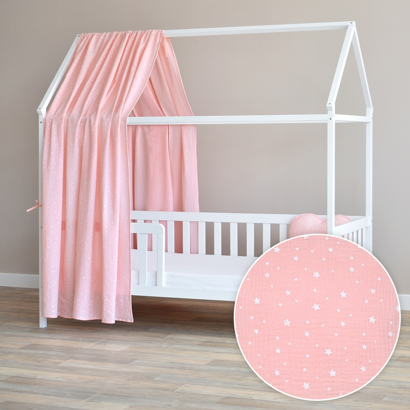 House Bed Canopy 'Stars' Light Pink 350cm 1 Piece