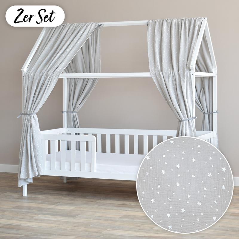 House Bed Canopy Set Of 2 'Stars' Light Grey 350cm
