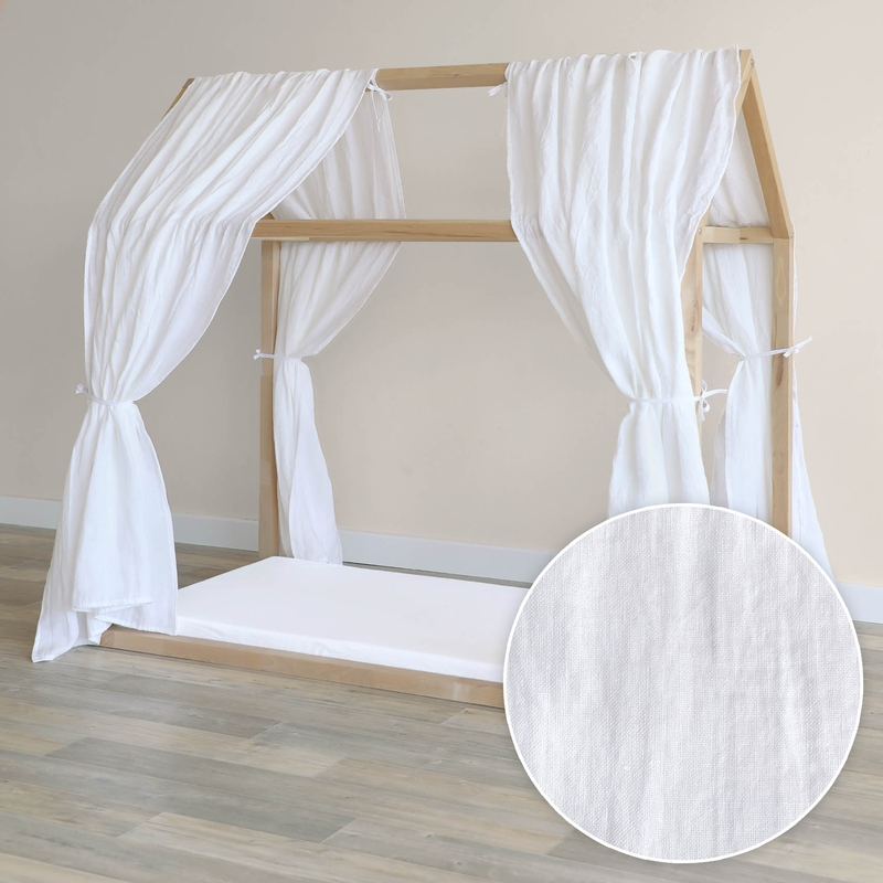 House Bed Canopy Set Of 2 Linen White 315cm