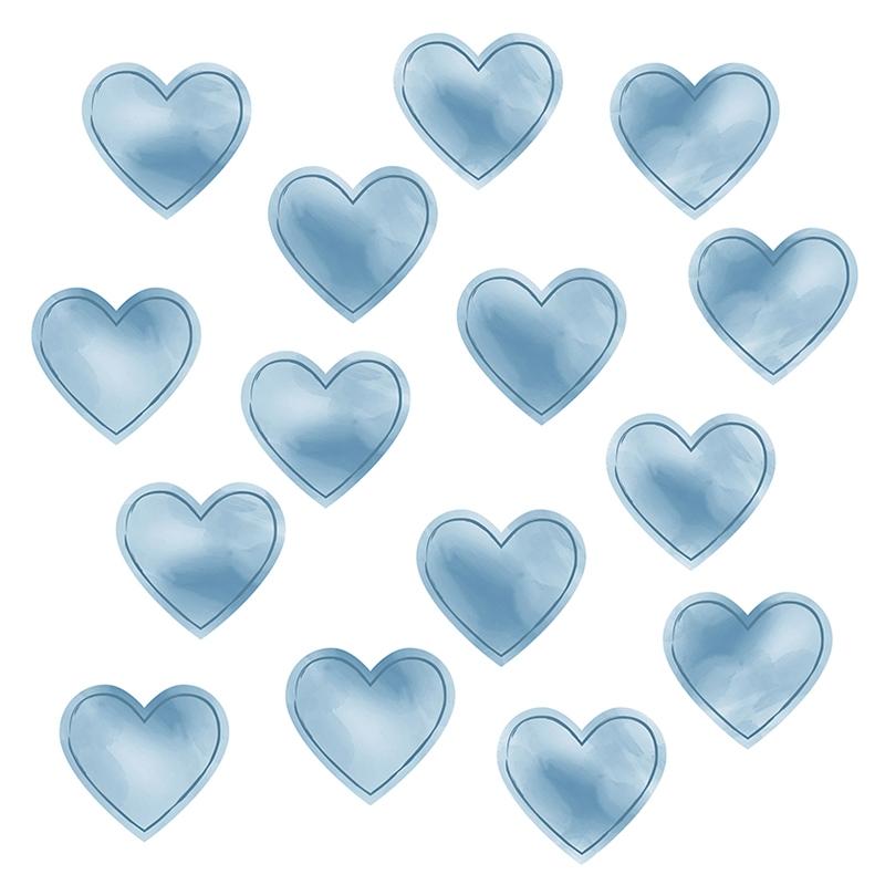 Wall Stickers 'Hearts' Watercolour Smokey Blue