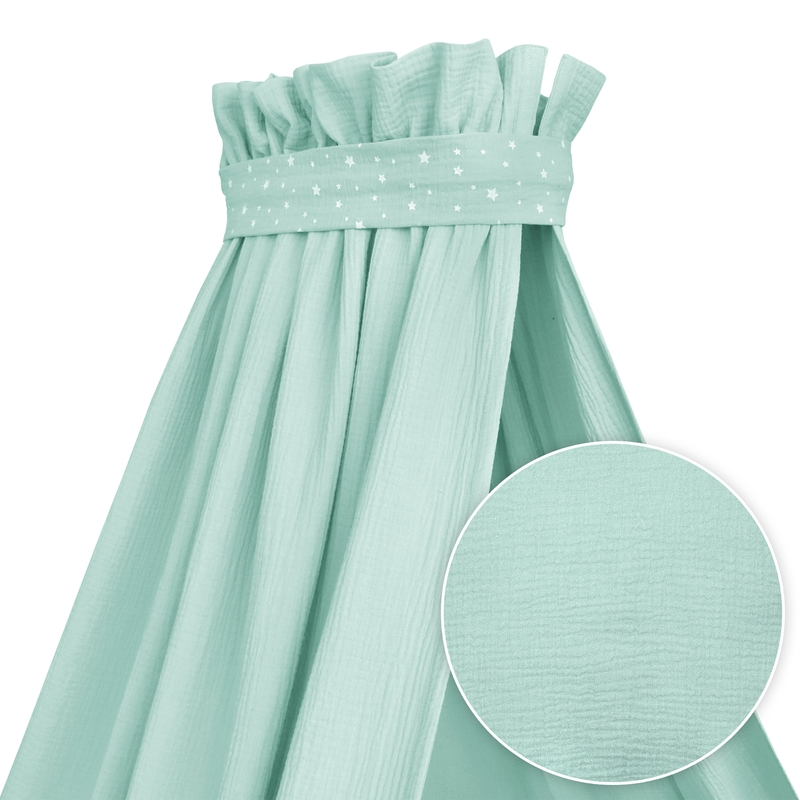 Baby Bed Canopy Muslin Mint