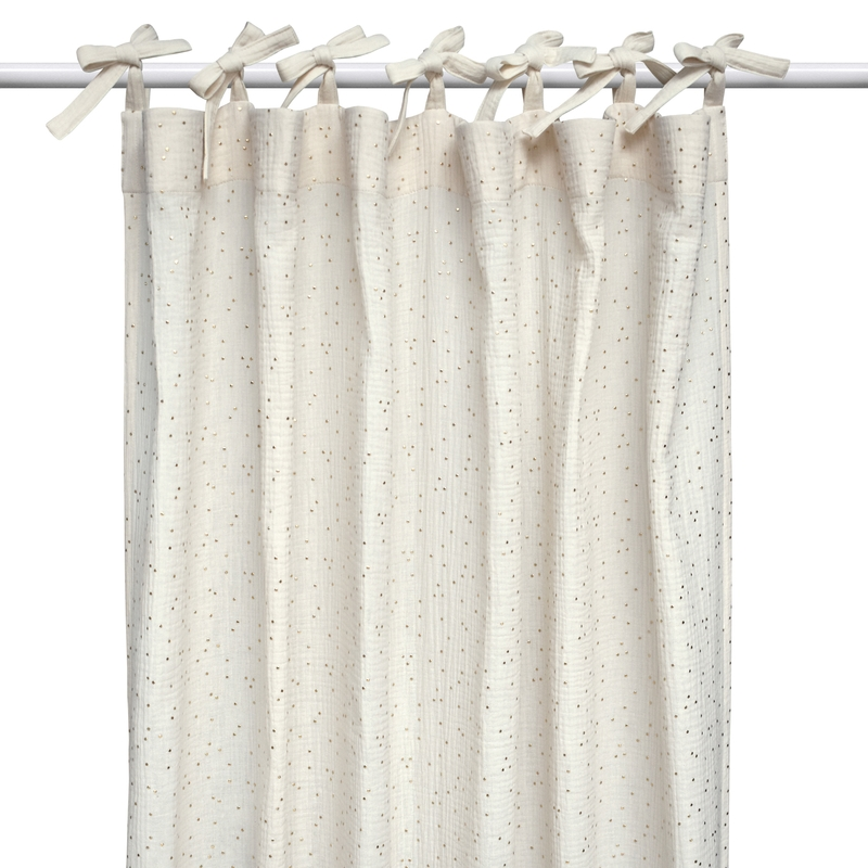 Curtain 'Dots' Muslin Cream/Gold H 240cm