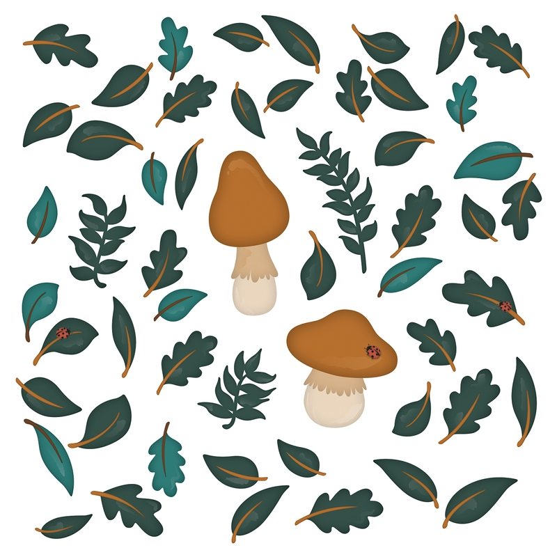 Wall Stickers 'Forest' Mushrooms & Leaves Camel/Green