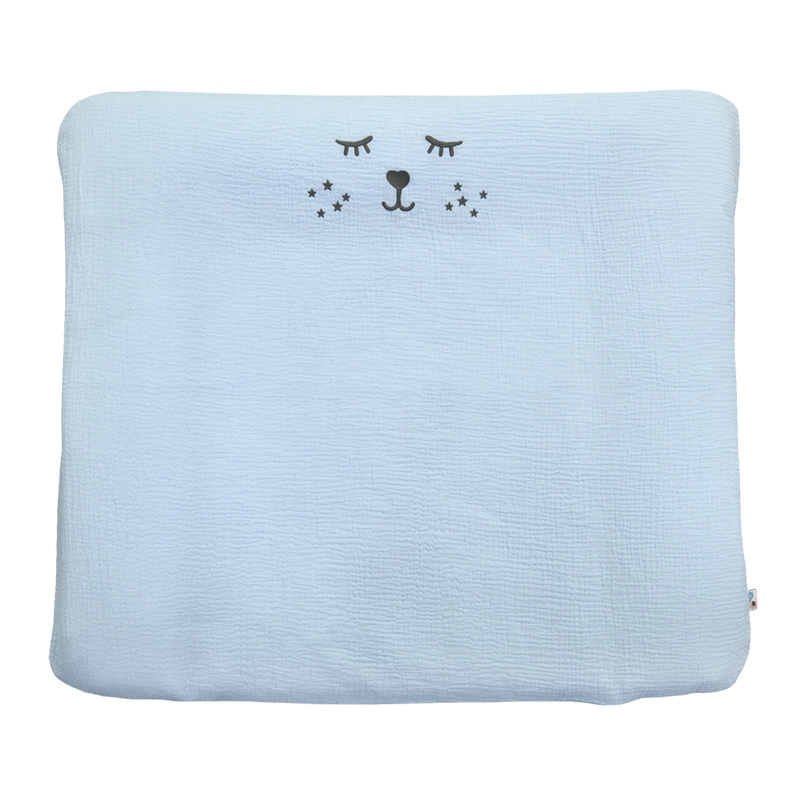 Changing Pad Cover Embroidered Pastel Blue