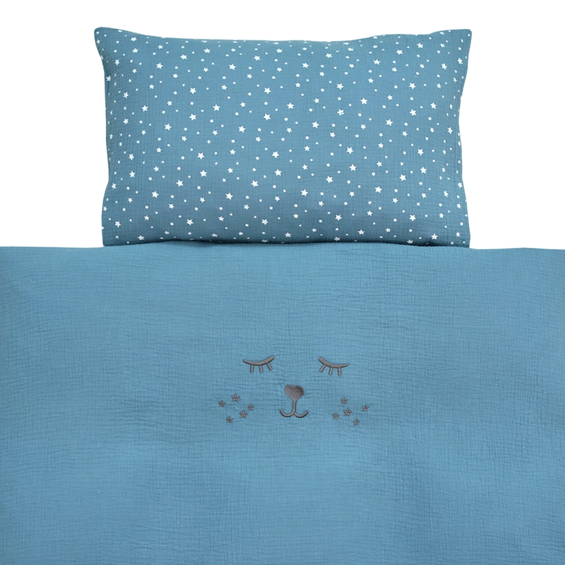Bedding Muslin Embroidered Smokey Blue 100x135cm