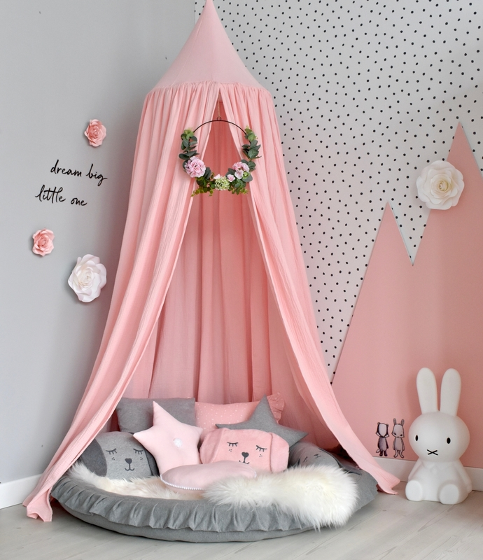 Cozy-Corner with canopy & play mat in pink & grey