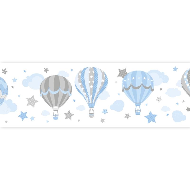 Wall Border 'Hot Air Balloons' Blue Self-adhesive