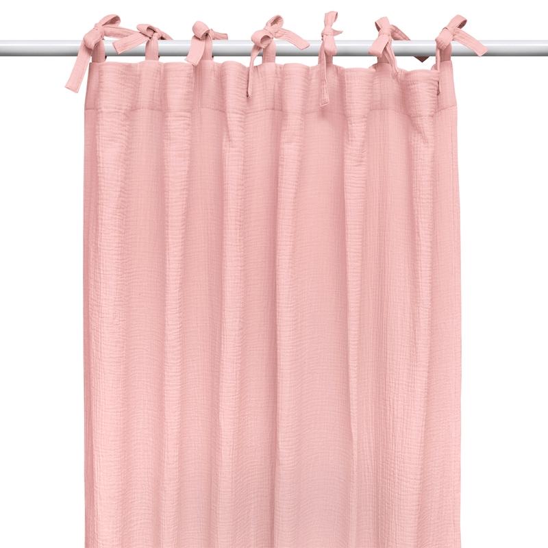Vorhang Musselin puderrosa H 240cm handmade