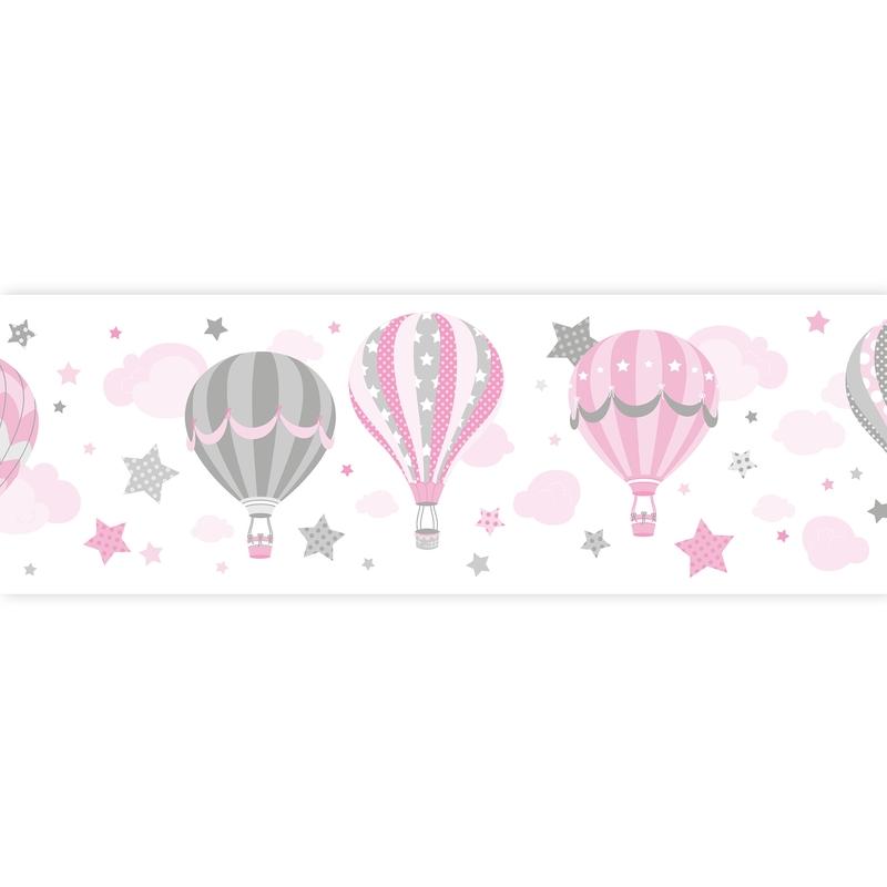 Wall Border 'Hot Air Balloons' Pink Self-adhesive
