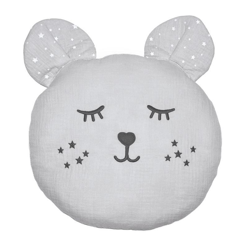 Cushion 'Bear' Muslin Embroidered Light Grey 30cm