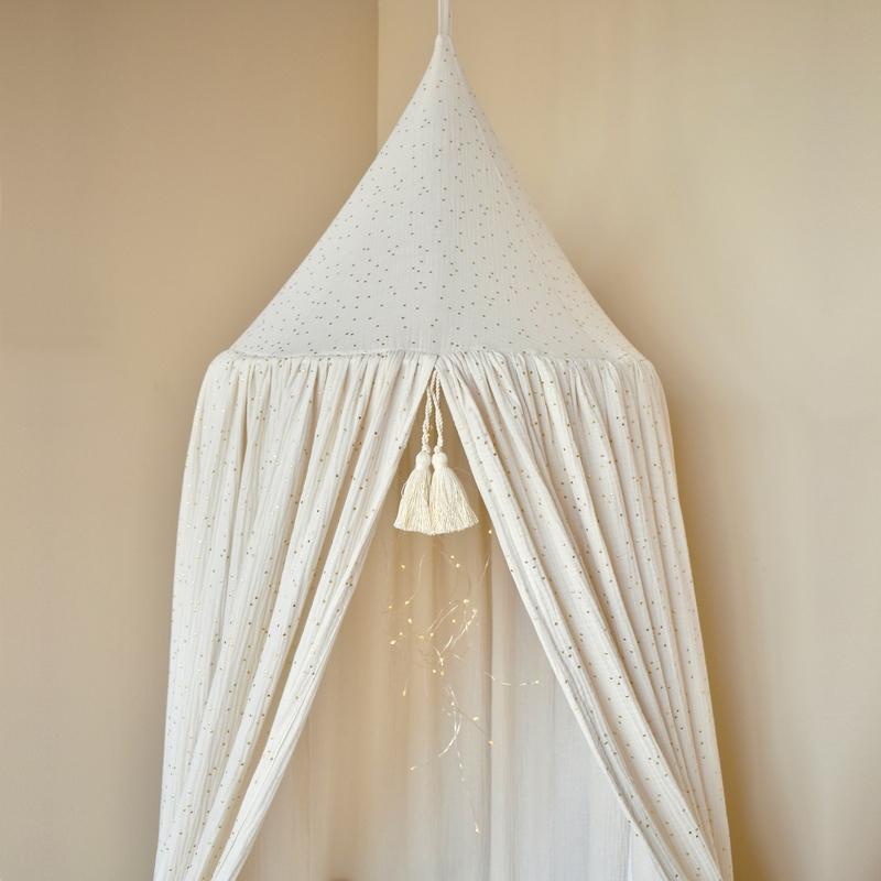 Bed Canopy Dots Cream/Gold 250cm Handmade