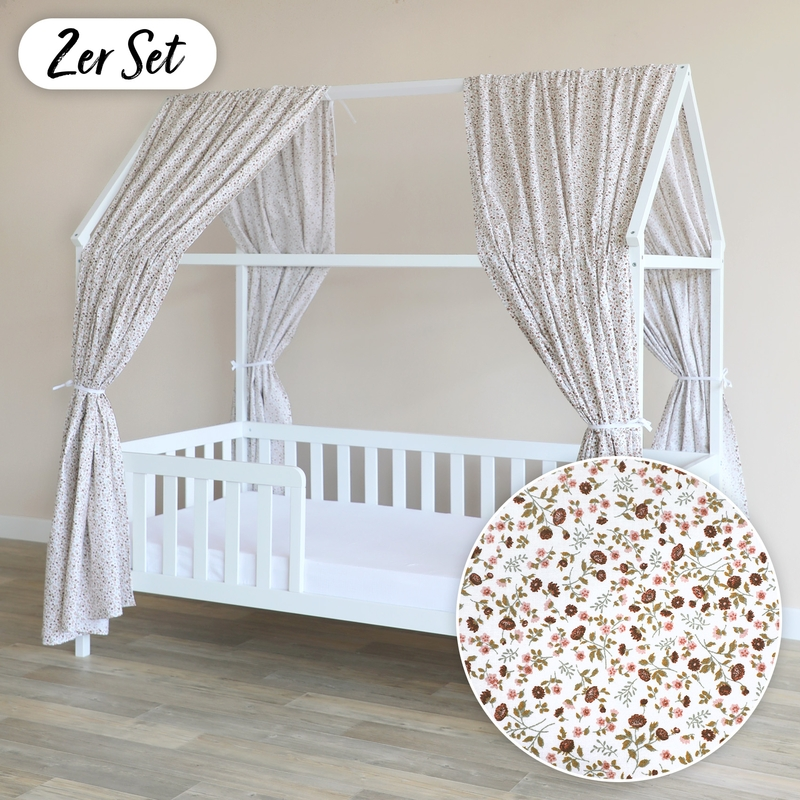 House Bed Canopy Set Of 2 'Buttercup' Pink 350cm