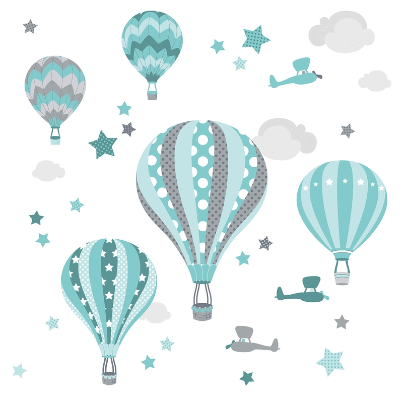 Wall Stickers 'Hot Air Balloons' Mint/Grey